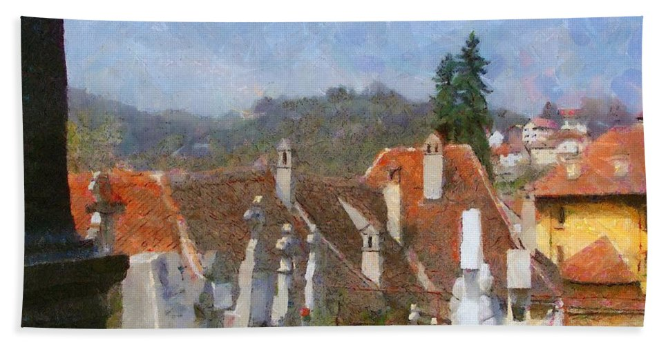 Architecture Bath Sheet featuring the painting Quiet Neighbors by Jeffrey Kolker