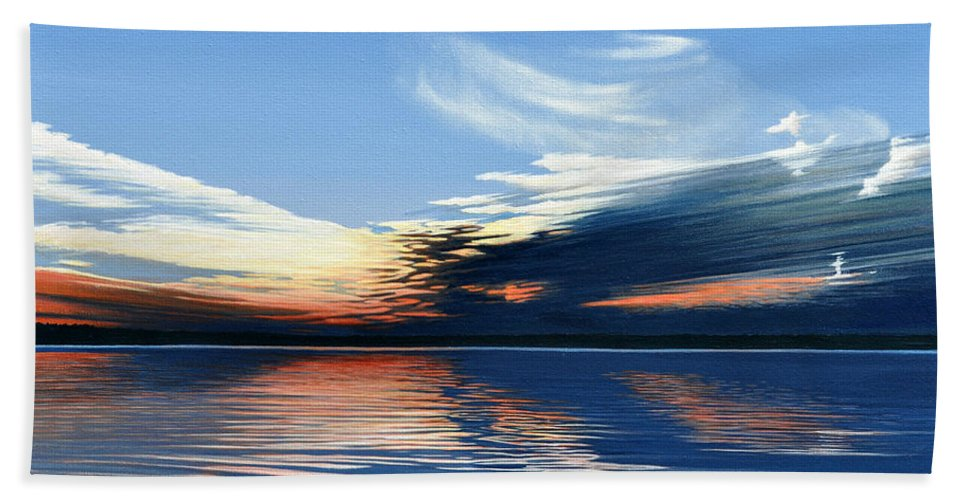 Landscape Hand Towel featuring the painting Quiet Reflections by Kenneth M Kirsch