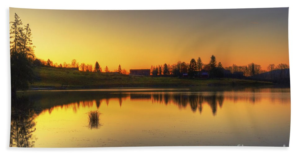 Sunrise Hand Towel featuring the photograph Quiet Sunrise.. by Nina Stavlund