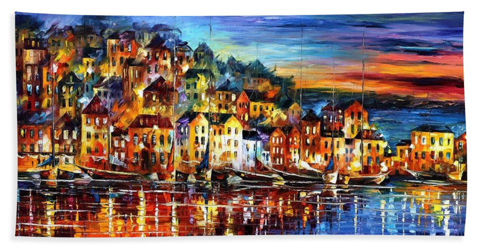 Palette Bath Towel featuring the painting Quiet Town - PALETTE KNIFE Cityscape Oil Painting On Canvas By Leonid Afremov by Leonid Afremov