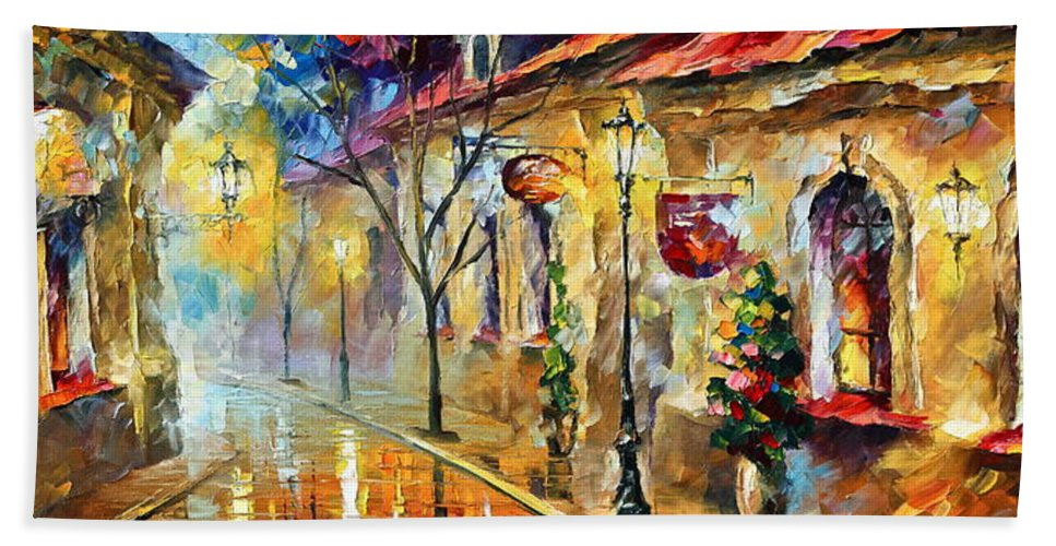 Afremov Bath Sheet featuring the painting Quite Morning by Leonid Afremov