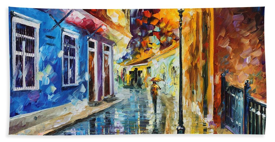Oil Paintings Hand Towel featuring the painting Quito Ecuador - Palette Knife Oil Painting On Canvas By Leonid Afremov by Leonid Afremov