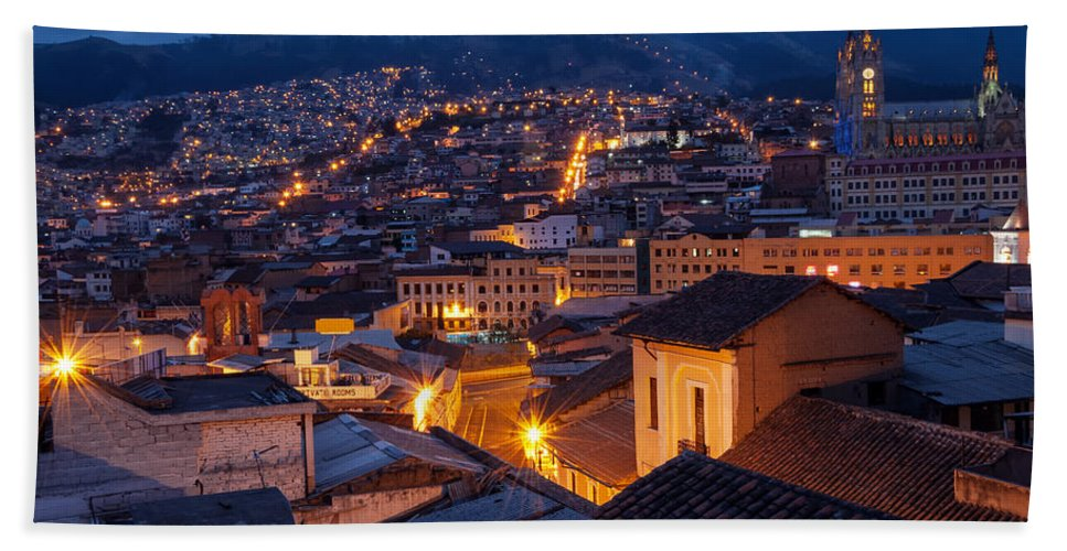 Cathedral Hand Towel featuring the photograph Quito Old Town At Night by Jess Kraft