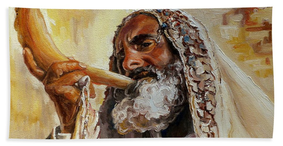 Rabbi Hand Towel featuring the painting Rabbi Blowing Shofar by Carole Spandau