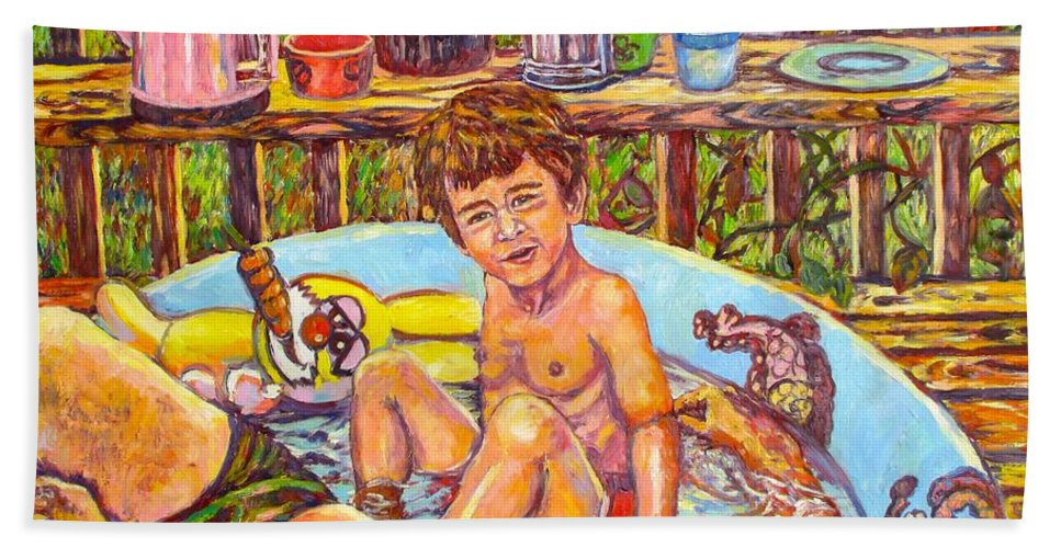 Pool Hand Towel featuring the painting Rabbit In The Pool by Kendall Kessler