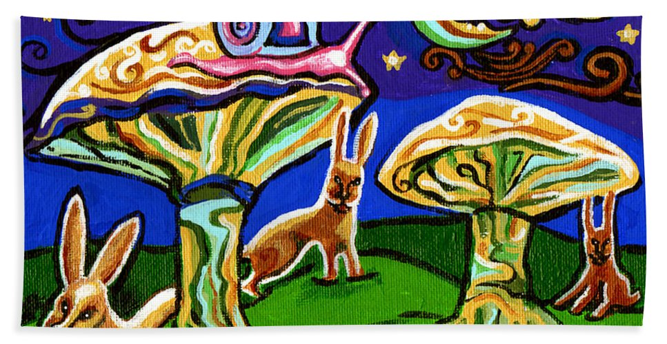 Rabbit Hand Towel featuring the painting Rabbits At Night by Genevieve Esson