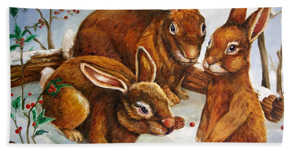 Wildlife Hand Towel featuring the painting Rabbits In Snow by Portraits By NC
