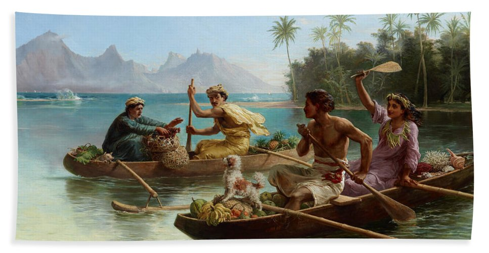 Nicholas Chevalier Hand Towel featuring the painting Race To The Market Tahiti by Nicholas Chevalier