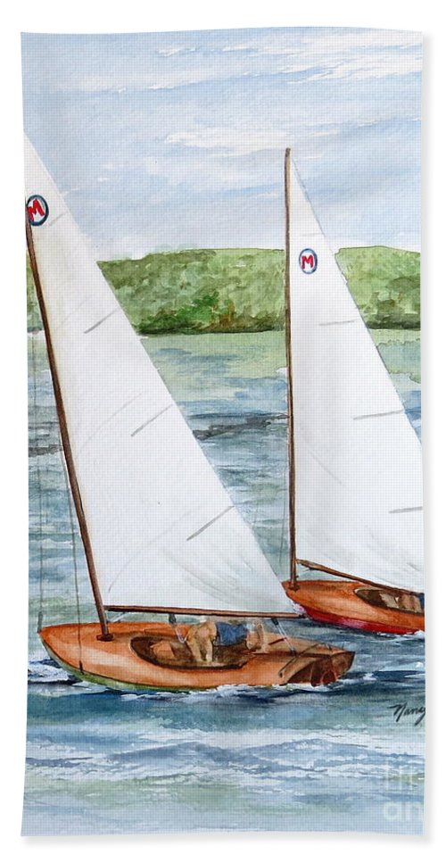 Classic Moth Sailboat Hand Towel featuring the painting Racing by Nancy Patterson