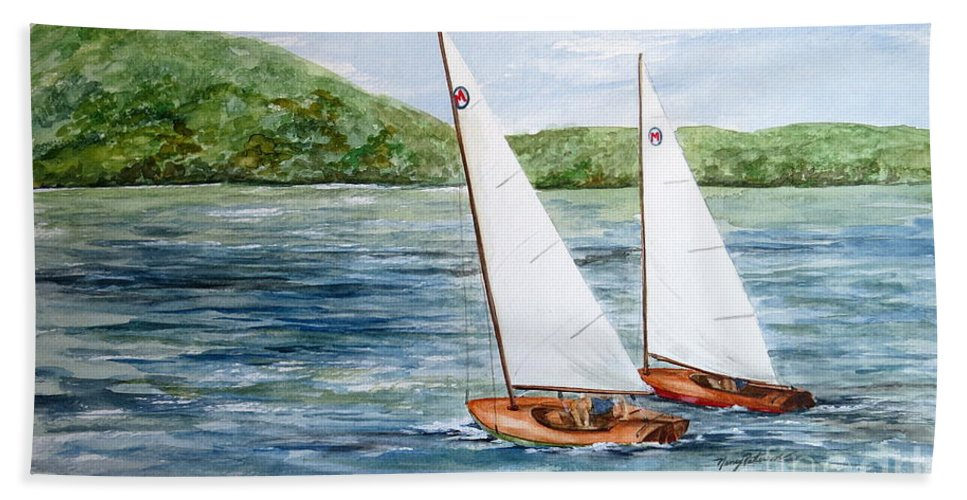 Classic Moth Sailboat Hand Towel featuring the painting Racing On The Lake by Nancy Patterson