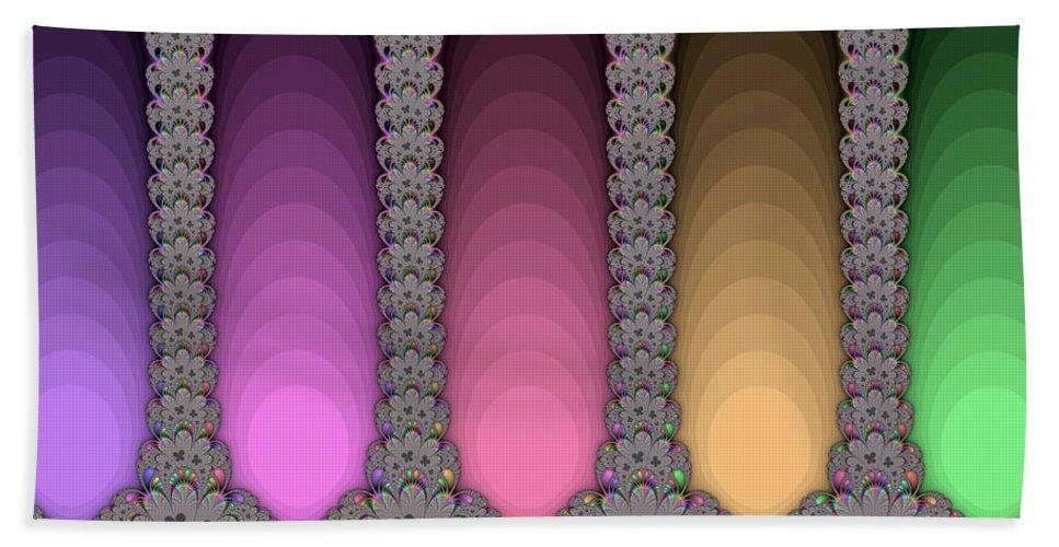 Fractal Hand Towel featuring the digital art Radiant Columns by Mark Greenberg