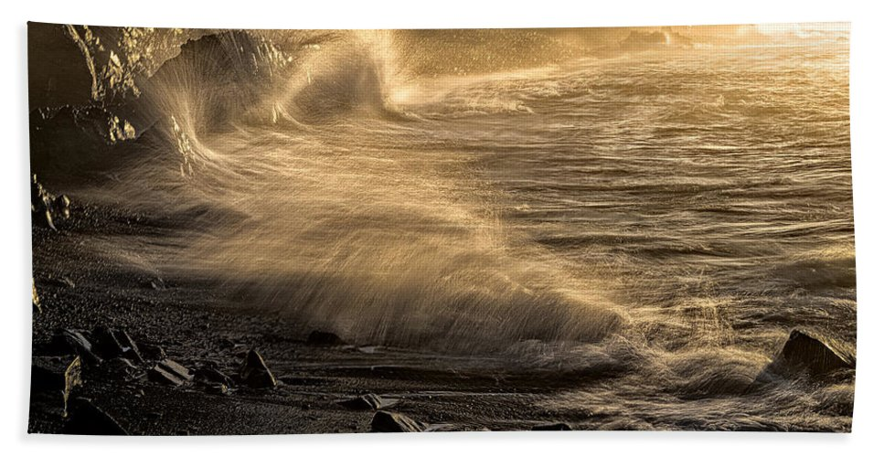 Radiant Sunrise Surf Bath Sheet featuring the photograph Radiant Sunrise Surf by Marty Saccone
