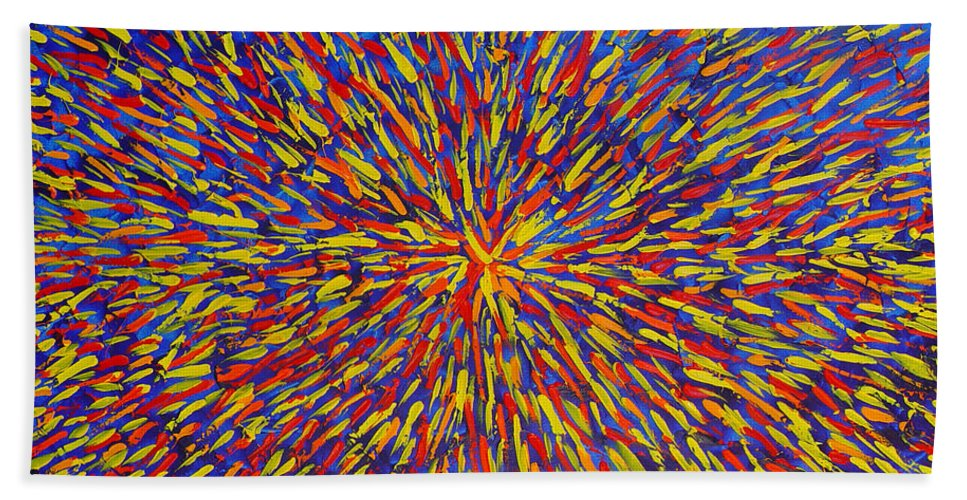 Abstract Hand Towel featuring the painting Radiation Blue by Dean Triolo