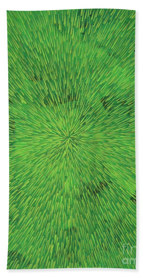 Abstract Hand Towel featuring the painting Radiation Green by Dean Triolo