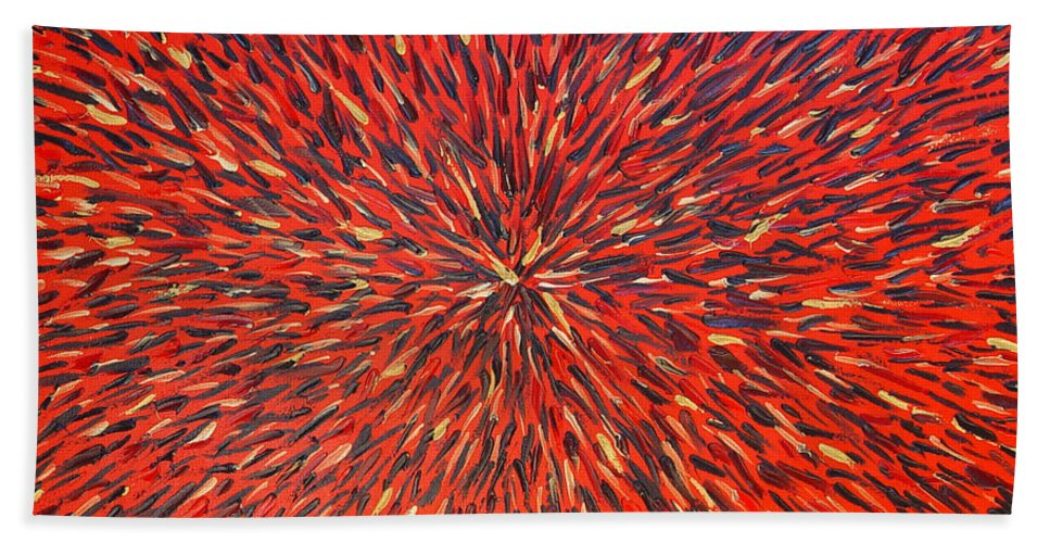 Abstract Bath Towel featuring the painting Radiation Red by Dean Triolo