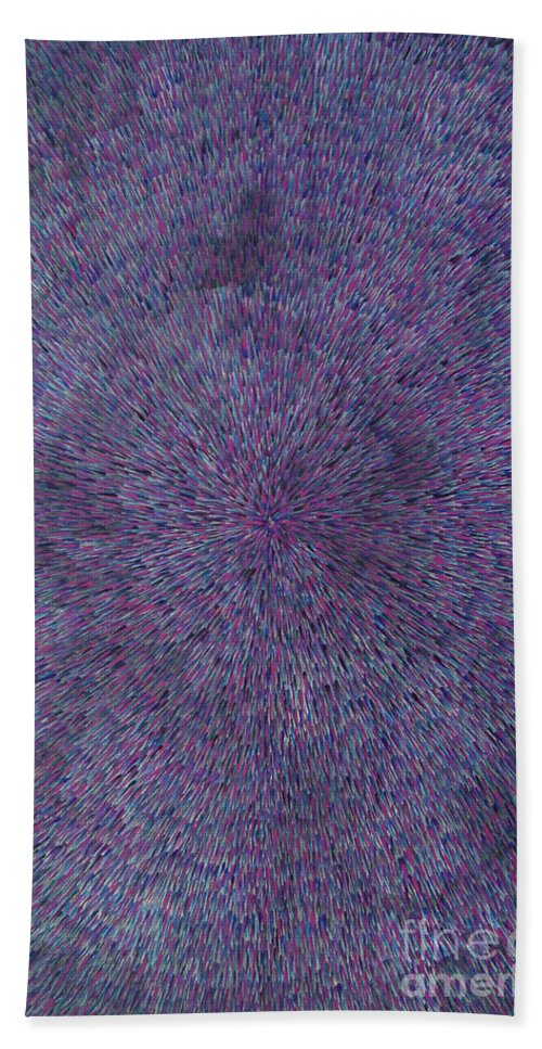 Abstract Hand Towel featuring the painting Radiation Violet by Dean Triolo