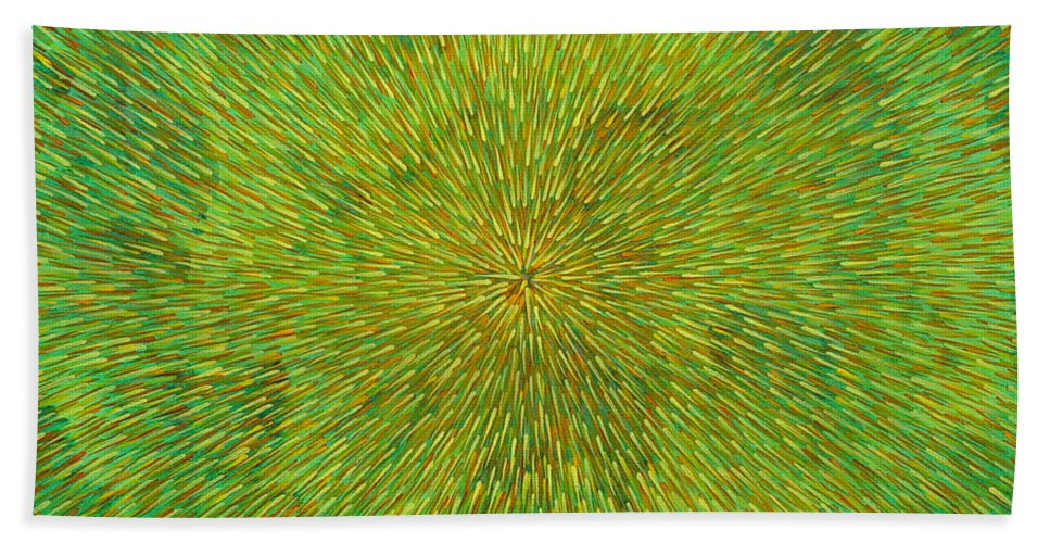 Abstract Bath Towel featuring the painting Radiation With Green Yellow And Orange by Dean Triolo