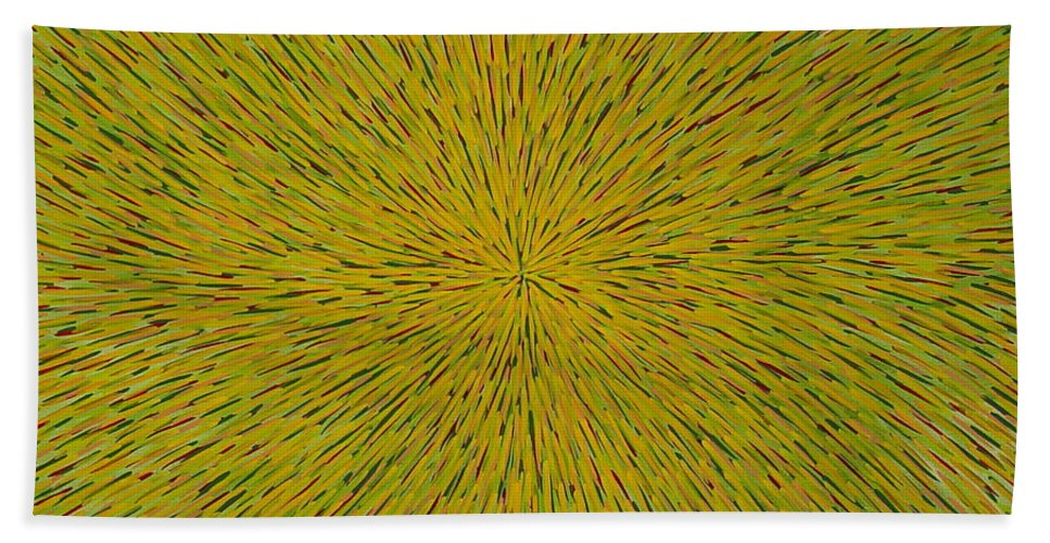 Abstract Hand Towel featuring the painting Radiation With Yellow Green And Red by Dean Triolo