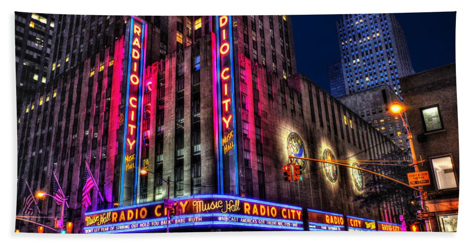 Radio City Hand Towel featuring the photograph Radio City Music Hall Landscape View by Randy Aveille