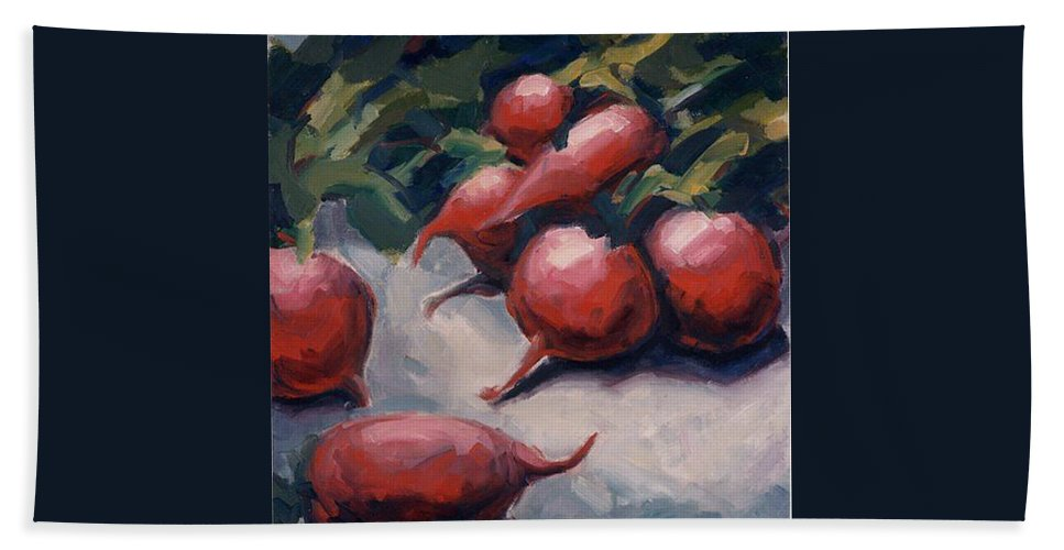 Radishes Hand Towel featuring the painting Radishes by Konnie Kim