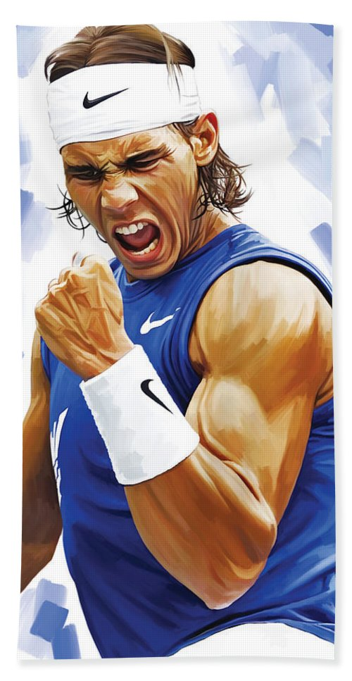 Rafael Nadal Paintings Bath Sheet featuring the painting Rafael Nadal Artwork by Sheraz A