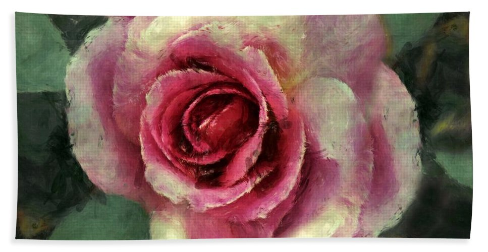 Rose Hand Towel featuring the painting Ragged Satin Rose by RC DeWinter