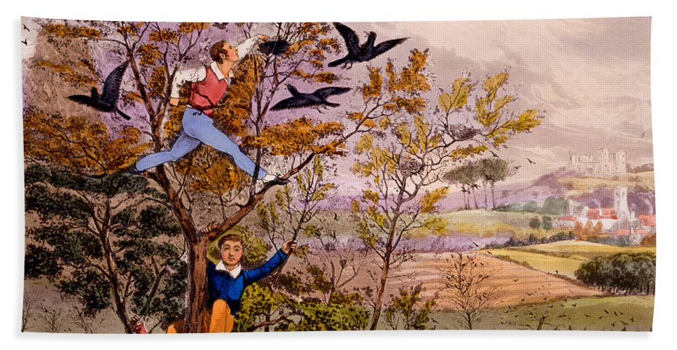 Alken Hand Towel featuring the painting Raiding The Rook's Nest by Henry Thomas Alken