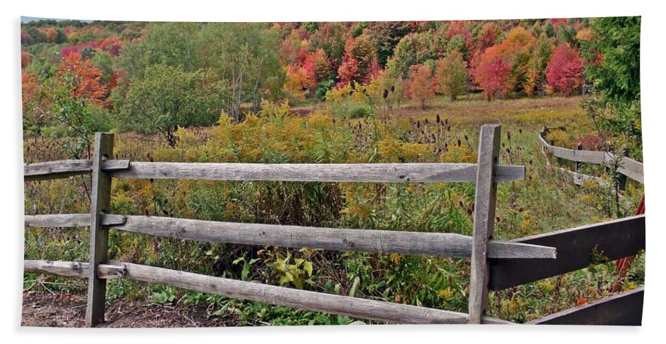 Autumn Bath Sheet featuring the photograph Rail Fence In Autumn by Christian Mattison