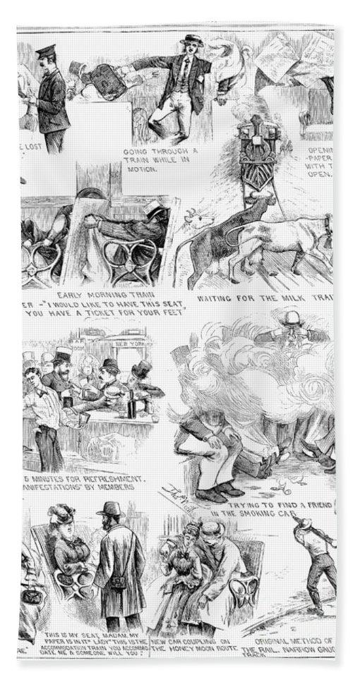 1873 Bath Sheet featuring the photograph Railroading Cartoon, 1873 by Granger