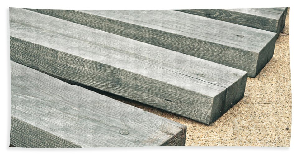 Backgrounds Hand Towel featuring the photograph Railway Sleepers by Tom Gowanlock