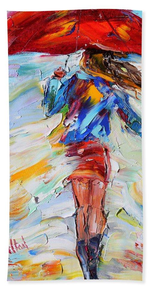 Rain Paintings Hand Towel featuring the painting Rain Dance With Red Umbrella by Karen Tarlton