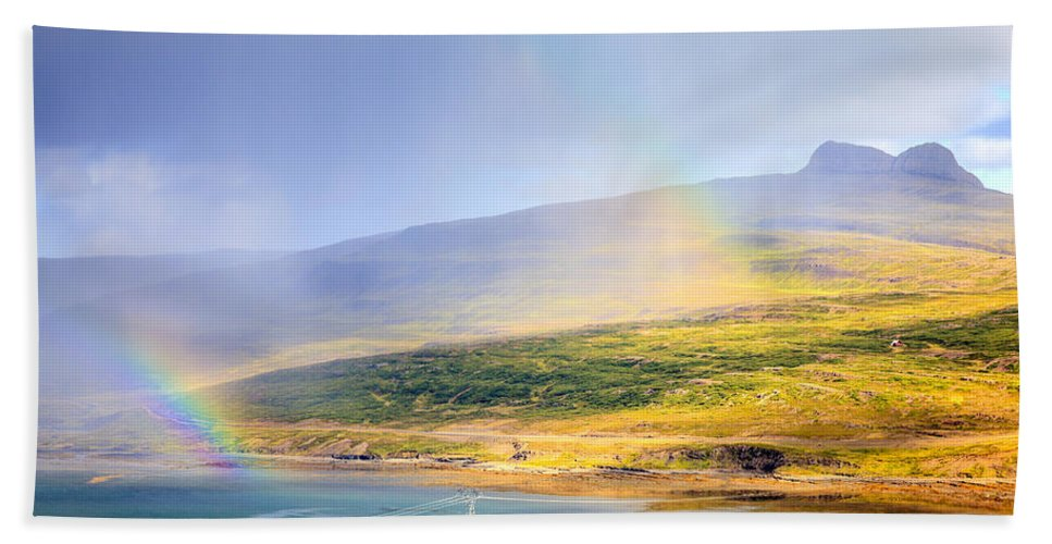 Europe Bath Sheet featuring the photograph Rain Over Fjords by Alexey Stiop