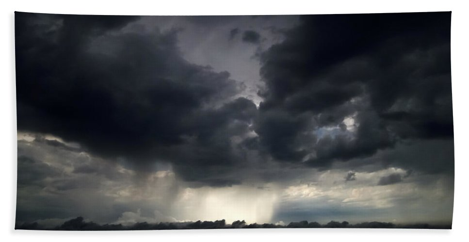 Rain Shafts From Thunderstorm Hand Towel featuring the photograph Rain Shafts From Thunderstorm by Greg Reed