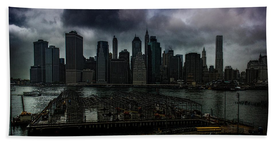 Rain Bath Sheet featuring the photograph Rain Showers Likely Over Downtown Manhattan by Chris Lord