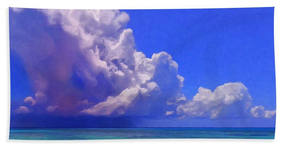 Hawaii Bath Sheet featuring the painting Rain Squall On The Horizon by Dominic Piperata