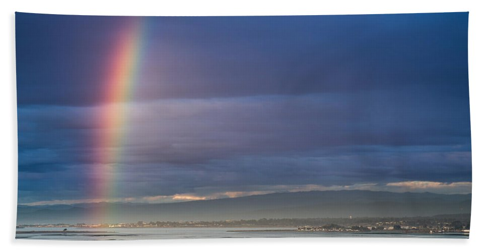 Humboldt Bay Hand Towel featuring the photograph Rainbow Above The Bay by Greg Nyquist