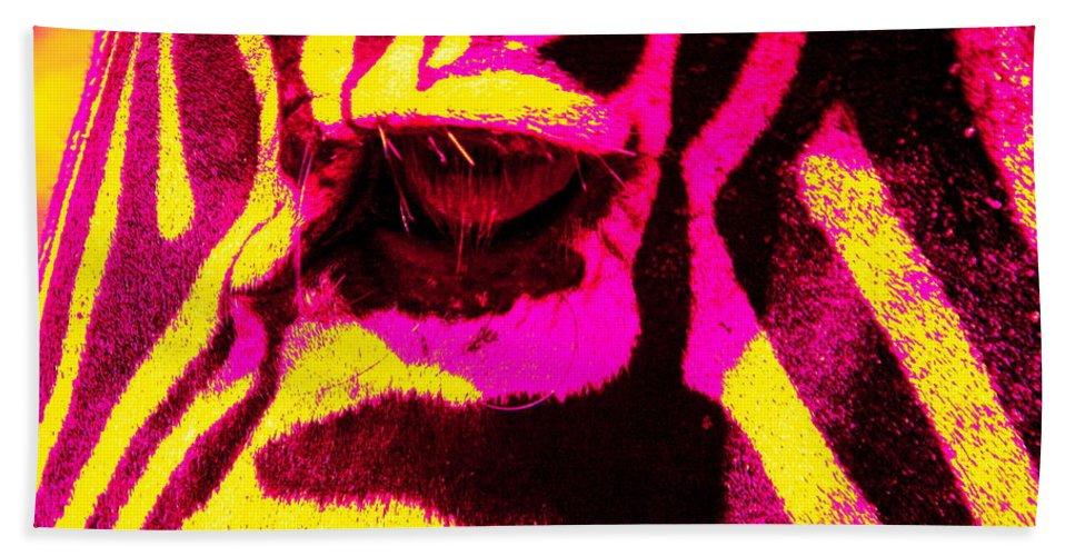 Zebra Hand Towel featuring the photograph Rainbow Animals - Zebra by Aidan Moran