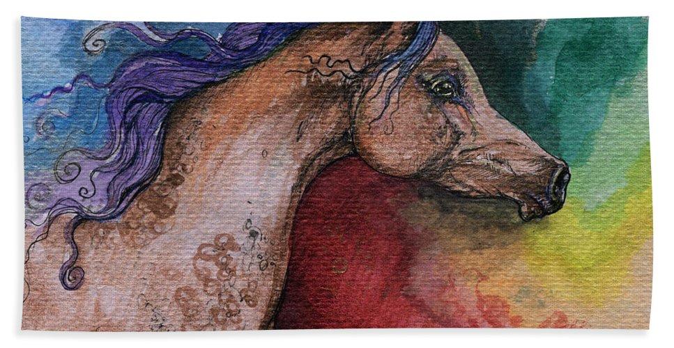 Fairytale Hand Towel featuring the painting Rainbow Arabian by Angel Ciesniarska