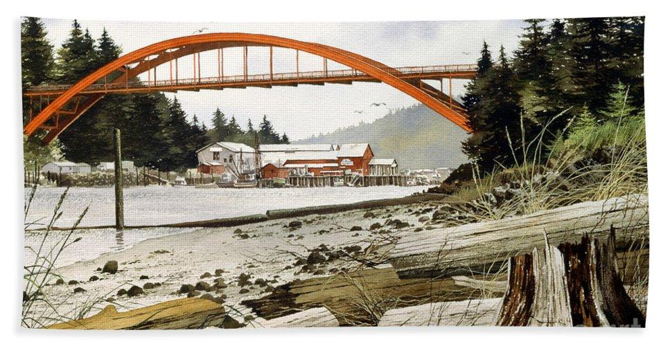 Bridge Print Bath Sheet featuring the painting Rainbow Bridge by James Williamson