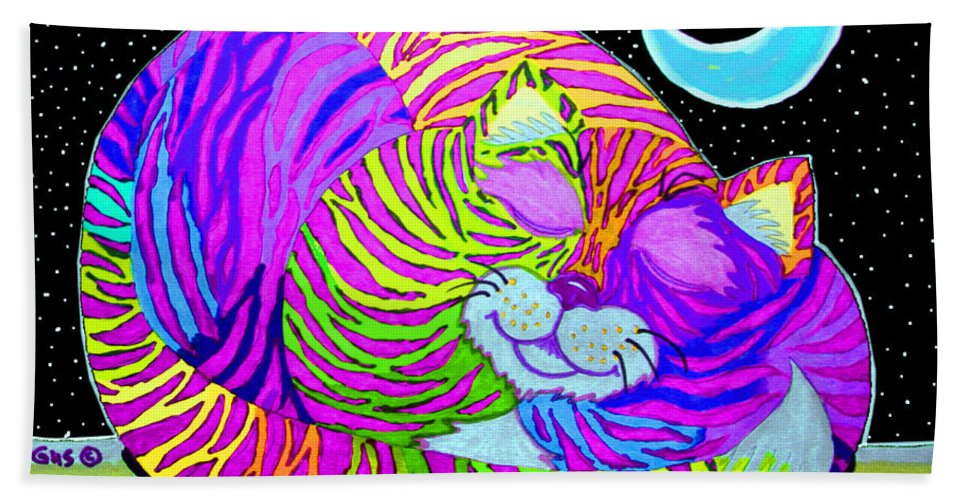Cat Bath Sheet featuring the drawing Rainbow Cat Blue Moon by Nick Gustafson