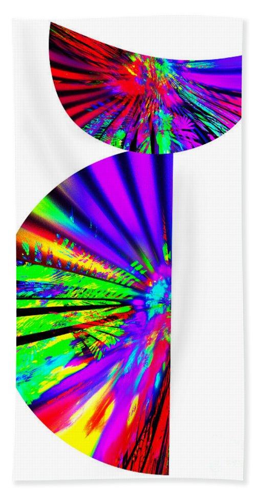 Cat Bath Sheet featuring the digital art Rainbow Cat by Klara Acel
