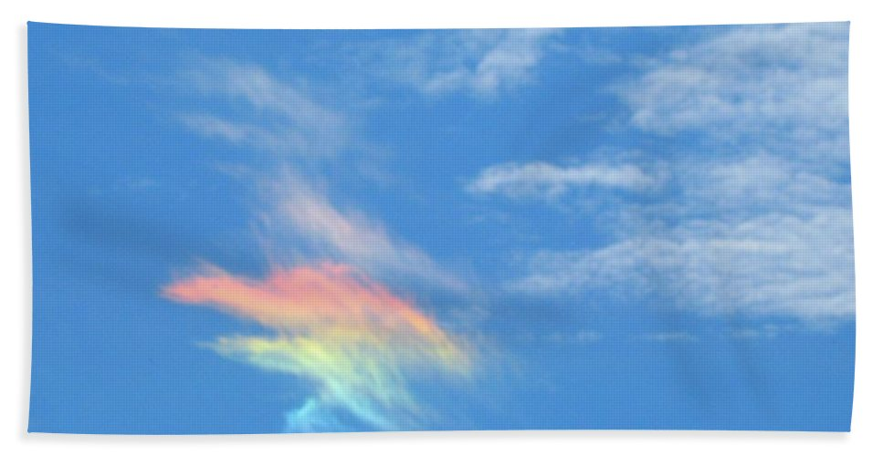 Rainbow Cloud Hand Towel featuring the photograph Rainbow Cloud by Owl's View Studio