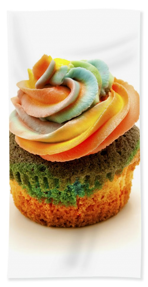 Rainbow Hand Towel featuring the photograph Rainbow Cupcake by Fabrizio Troiani