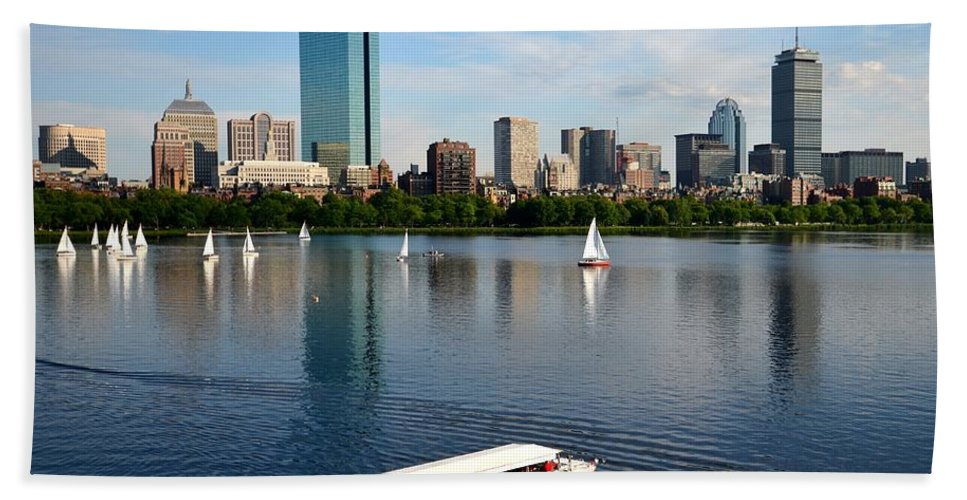 Boston Hand Towel featuring the photograph Rainbow Duck Boat On The Charles by Toby McGuire