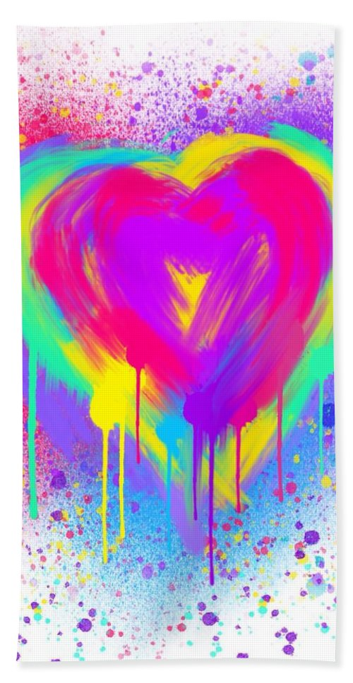 Heart Bath Sheet featuring the painting Rainbow Heart by Nick Gustafson