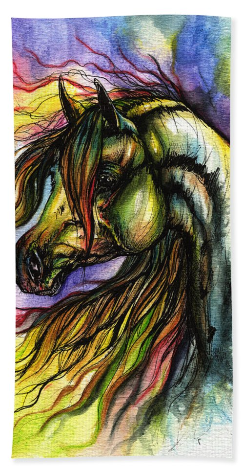 Horse Hand Towel featuring the painting Rainbow Horse 2 by Angel Ciesniarska