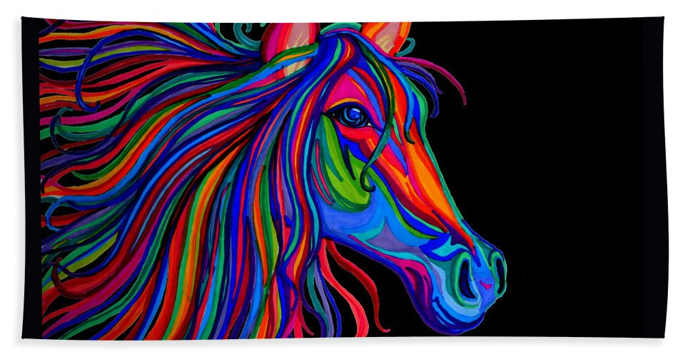 Horse Hand Towel featuring the drawing Rainbow Horse Head by Nick Gustafson