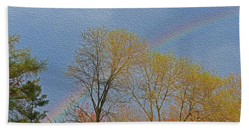 Colourful Spring Hand Towel featuring the photograph Rainbow In Spring by Sonali Gangane