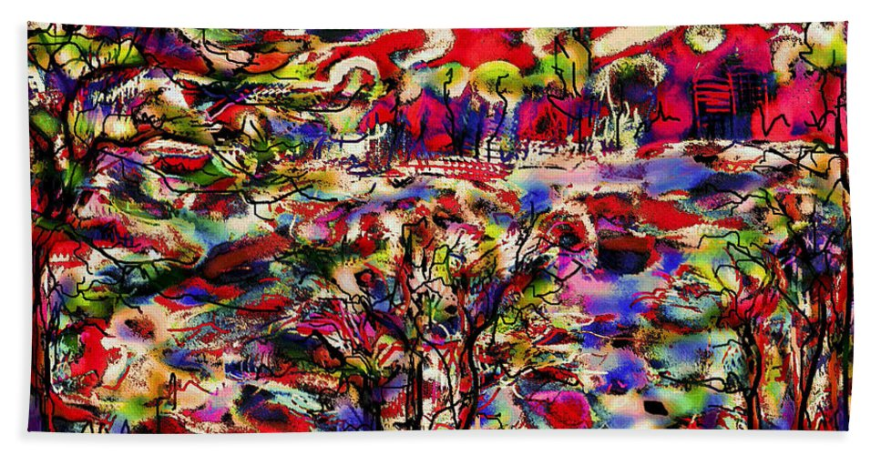 Landscape Bath Sheet featuring the mixed media Rainbow Landscape by Natalie Holland