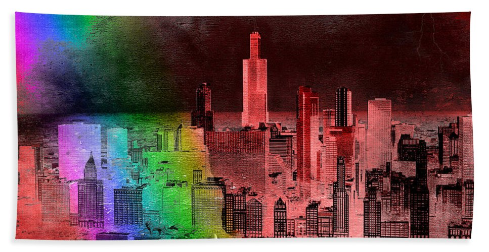 Rainbow Hand Towel featuring the mixed media Rainbow On Chicago Mixed Media Textured by Thomas Woolworth